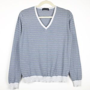 JCM Jey Cole Man Blue Striped V Neck Sweater